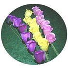 Half Dozen Half Open Small Wooden Roses
