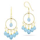 Sky Blue Dangle Topaz Earrings in 18K Yellow Gold