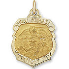 14k Yellow Gold Badge Style St. Michael Medal