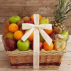 Fresh and Dried Tropical Fruit Basket with Personalized Ribbon