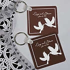 Personalized White Doves Keychain Wedding Favor