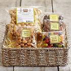 Sweet Meets Salty Nuts & Snacks Basket with Personalized Ribbon