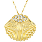 Diamond Shell Pendant in 14K Yellow Gold