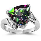 Diamond & Trillion Mystic Topaz Ring