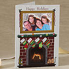Personalized Fireplace Greetings Photo Christmas Cards
