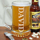 Engraved Name Glass Beer Mug