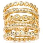 5 Cubic Zirconia Gold-Plated Eternity Bands