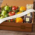 Organic Fruit & Snacks with Personalized Ribbon Gift Box