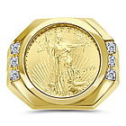 Gold Eagle Coin Mens Diamond Ring