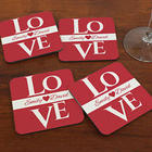 Love Personalized Wood Drink Coasters