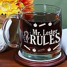 Engraved My Teacher Rules Glass Mug