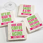 Party It Up Personalized Tumbled Stone Coasters