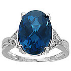Blue Topaz & Diamond Ring in 14K White Gold