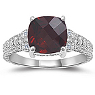 Garnet & Diamond Antique Filigree White Gold Ring