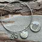 Football Time of Year Engraved Wire Bangle Bracelet