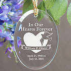 Personalized In Our Hearts Forever Memorial Oval Glass Ornament