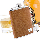 Premium Textured Leather Flask in Tan