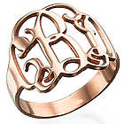 Rose Gold-Plated Monogram Ring