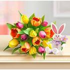 Easter Tulip Bouquet with Plush Bunny