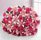 Deluxe Pink Rose & Lily Bouquet Bouquet