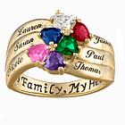 18K Gold over Sterling Heart-Shaped Birthstone & Name Family Ring