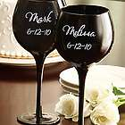 Personalized Black Wine Goblets