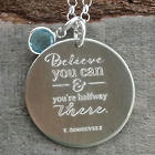 Believe You Can Graduation Disc Necklace with Birthstone Charm