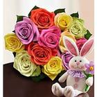 Easter Rose Bouquet with Bunny Stuffed Animal