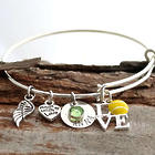 Tennis Themed Personalized Adjustable Wire Bangle Bracelet