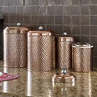 Mauritius 4 Piece Hammered Copper Canister Set