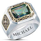 Irish Pride Mystic Topaz Silver and Gold-Plated Men's Ring