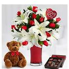 Ultimate Always and Forever Bouquet with Chocolates and Bear
