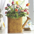 Decorative Watering Can with Faux Tulips