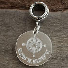 Compass Coordinates Engraved Sterling Silver Charm Bead