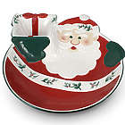 Pfaltzgraff Winterberry Jolly Santa Chip N Dip