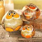 Handcrafted Owl Gourd Accents