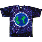 Planet Earth on Purple Tie Dye T-Shirt
