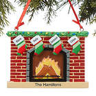 Personalized 4 Name Stockings on Fireplace Family Ornament