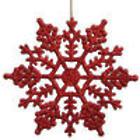 24 Club Burgundy Glitter Snowflake Christmas Ornaments