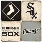 Chicago White Sox Italian Marble Coasters & Wrought Iron Holder