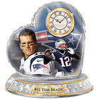 Tom Brady New England Patriots Heart Shaped Crystal Clock
