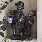 Childhood Pals Solar Light Garden Statue