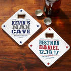 Personalized Beer Bottle Opener and Coaster