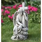 Seated Angel with Cross Outdoor Statue