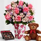 Pink Sapphire Roses with Valentine's Vase, Bear, and Chocolates