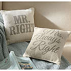 Mr. and Mrs. Right Pillows
