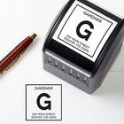 Square Initial Self-Inking Address Stamper