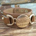 Gold Monogram Bracelet in Light Brown Leather