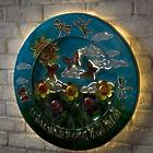 3D Lighted Butterflies Recycled Oil Drum Lid Wall Art