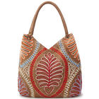 Fern Frond Hand-Embroidered Shoulder Bag